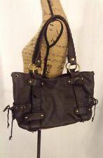 $498 KOOBA L Brown Pebbled Leather Braided Belted Shoulder Bag Handbag Purse