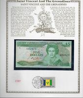 East Caribbean Banknote $5 1985 P 18g UNC w/FDI UN FLAG STAMP St. Vincent