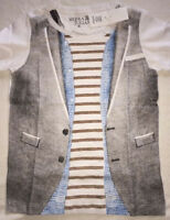 12 8 6 NWT SIERRA JULIAN Camiano Grey//White//Navy//Brown T-Shirt top boy 5 10