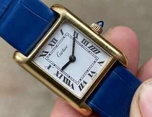 CARTIER TANK MANUAL WIND ORIGINAL DIAL STRAP & BUCKLE GOLD PLATED SERVICED
