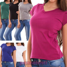 Women's Sweater Shirt short Sleeve V Neck Casual Basic New 5002-MOD