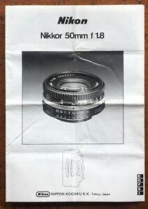 Nikon Nikkor 1,8/50mm  - Anleitung