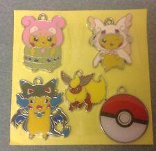 """"""" """"Lot de 5 X Pokemon Pikachu ton argent métal émail CHARMS pendentifs (N4)"""""""""""