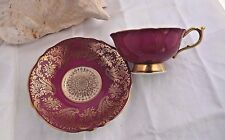 PARAGON TEA CUP AND SAUCER CRANBERRY & SCROLL GOLD GILT PATTERN TEACUP