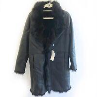 Intuition Paris Melisse Sheepskin Black Leather Fur Reversible Coat Size T42 New