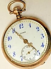 Vintage Rode Pocket Watch Ornate , 15 Jewel  With 24 inch chain