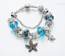21cm Beautiful Blue Ocean Sea Turtles Silver Plated European Charm Bracelet