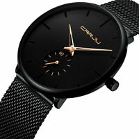 CRRJU Men Fashion Military Stainless Steel Analog Date Sport Quartz Wrist Watch