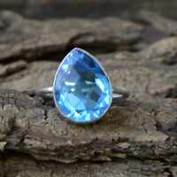 Swiss Blue Quartz Gemstone 925 Sterling Silver Handmade Gift Ring Size 8