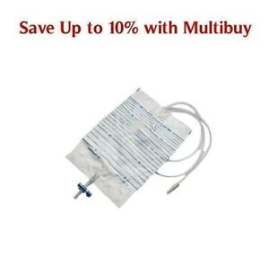 2L Urine Drainage Catheter Bag Sterile Night Bag T-Tap Incontinence Aid 90 150cm