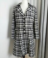 per una ladies white grey black hounds tooth 70% wool smart winter coat 16