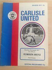Carlisle v Plymouth 1977-78 programme