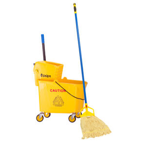 9.5 Gallon Press Mop Bucket with Wringer 34 Quart Rolling Cart Yellow