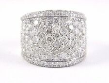 Round Diamond Wide Cluster Pave Dome Cigar Ring Band 14k White Gold 5.00Ct