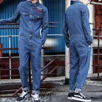 Men Retro Stripe Denim Slim Overall Jumpsuit Jeans Romper Cowboy Coat Pants Suit