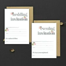 WEDDING INVITATIONS BLANK GREY WATERCOLOUR & PINK FLORAL,DAY & EVE, PACKS OF 10