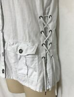 Womens Maurices White Denim Vest Top Tie Sides Linen  Size M - L Fit  See Msmnts