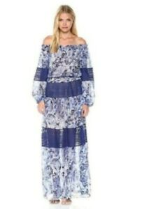NWT BCBG Maxazria Ellie Maxi Dress Blue Paisley Floral Off Shoulder XXS $468