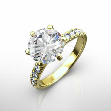 6 PRONG DIAMOND ROUND RING SOLITAIRE W ACCENTS 2 CARATS REAL 18K YELLOW GOLD