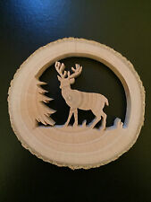 RECLAIMED TREE SLICE - DEER & TREE -  CHRISTMAS / WINDOW / WALL ORNAMENT