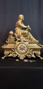 Antique French P.H. Moreau Bronze Spelter Premières Fleurs Figurative Clock