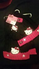 HELLO KITTY GIRLS 3 PC BLACK & PINK BEANIE, GLOVES, SCARF WITH LOGO SIZE YOUTH