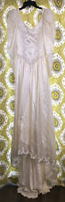 Vintage Ivory Wedding Dress Lace Puff Sleeve Train Fitted Gown 80's Satin Train
