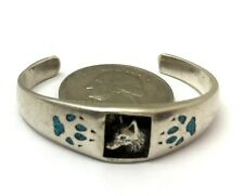 Southwestern Sterling Silver Baby Bracelet. Tuquoise Wolf Shadow Box