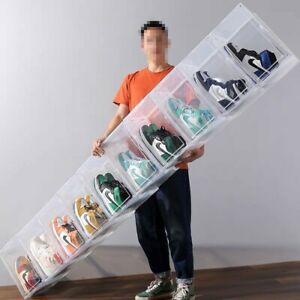 Premium Sneaker Display Shoe Boxes Storage Case Clear Plastic Box Side Stackable