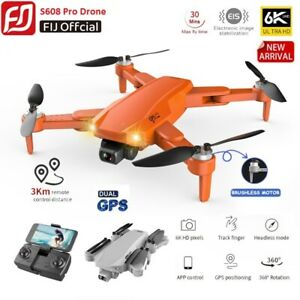 FIJ S608 PRO Drone with GPS WIFI 6K Dual HD Camera Foldable FPV RC Quadcopter