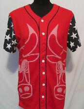 Mens NBA Chicago Bulls Medium Basketball Button Up Jersey Shirt Stars Patriotic