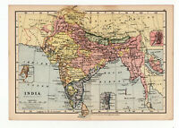 Antique Map Of India  W&AK Johnston 1897