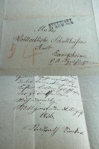 Vorphila-Brief Stuttgart 1836: City Council K. Fr. Riecker An Schultheiß