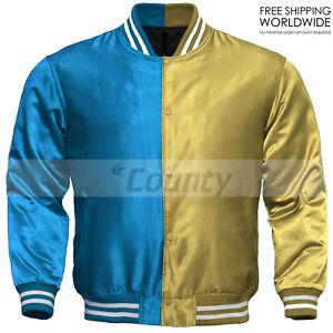 New Baseball Letterman College Varsity Bomber Sports Jacket Turquoise Gold Satin