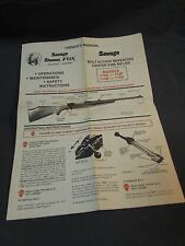 Instruction Owners Manual Insert for Savage Bolt Action Center Fire Rifles