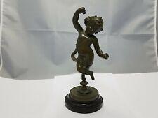 """Jugendstil Bronze Figur """" tanzender Putto mit Kastagnetten"""" ~ 1900  22 cm"""