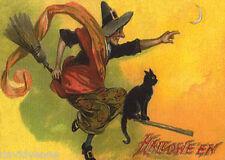 Venne Vintage Halloween Witch Black Cat ACEO canvas print miniature art