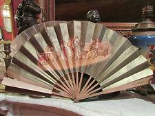 ancien grand eventail fan abanico ventaglio papier decor de scene de bal