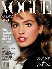 VOGUE  JANUARY 1987 CINDY CRAWFORD cover Richard Avedon