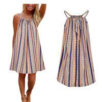 Women Ladies Boho Sleeveless Stripe Holiday Beach Summer Casual Swing Mini Dress