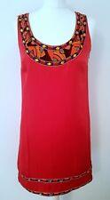 MONSOON ORIGINALS RRP £135 red silk KRUGER beaded neckline shift dress 8 36 NEW