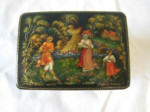 Amazing USSR Russian Hand Painted Black Lacquer Box Signed #12