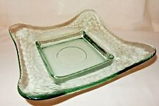 "10 1/4"" Mid-Century Modern Square Spanish Moss GREEN Art Glass BOWL Dish"