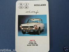 AUTO HOLLAND DAF 55 KWARTET KAART, QUARTETT CARD,SPIELKARTE