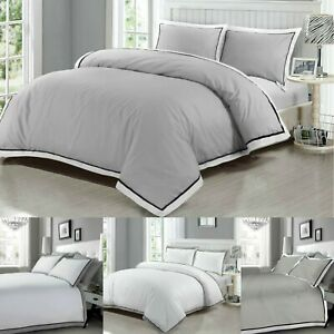 Luxury Duvet Cover 100% Egyptian Cotton 400TC Bedding Set White Grey Double King