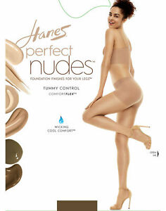 Hanes Perfect Nudes Women's Tummy Control Run Resistant Pantyhose, Nude 5 Size L