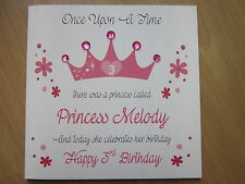 Personalised Handmade Princess Once Upon A Time Birthday Card: 1st 2nd 3rd 4th