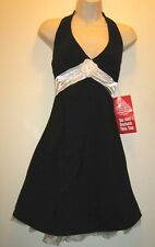 Women Juniors Ruby Rox Sexy Black White Halter Lined Formal Cocktail Dress Sz 11