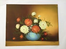 Vintage Floral Still Life by Carr Signed Acrylic Painting Canvas Vase Bouquet