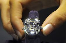 Certified 13.20CT White Gold Elizabeth Taylor Ring Sapphire14K White Asscher Cut